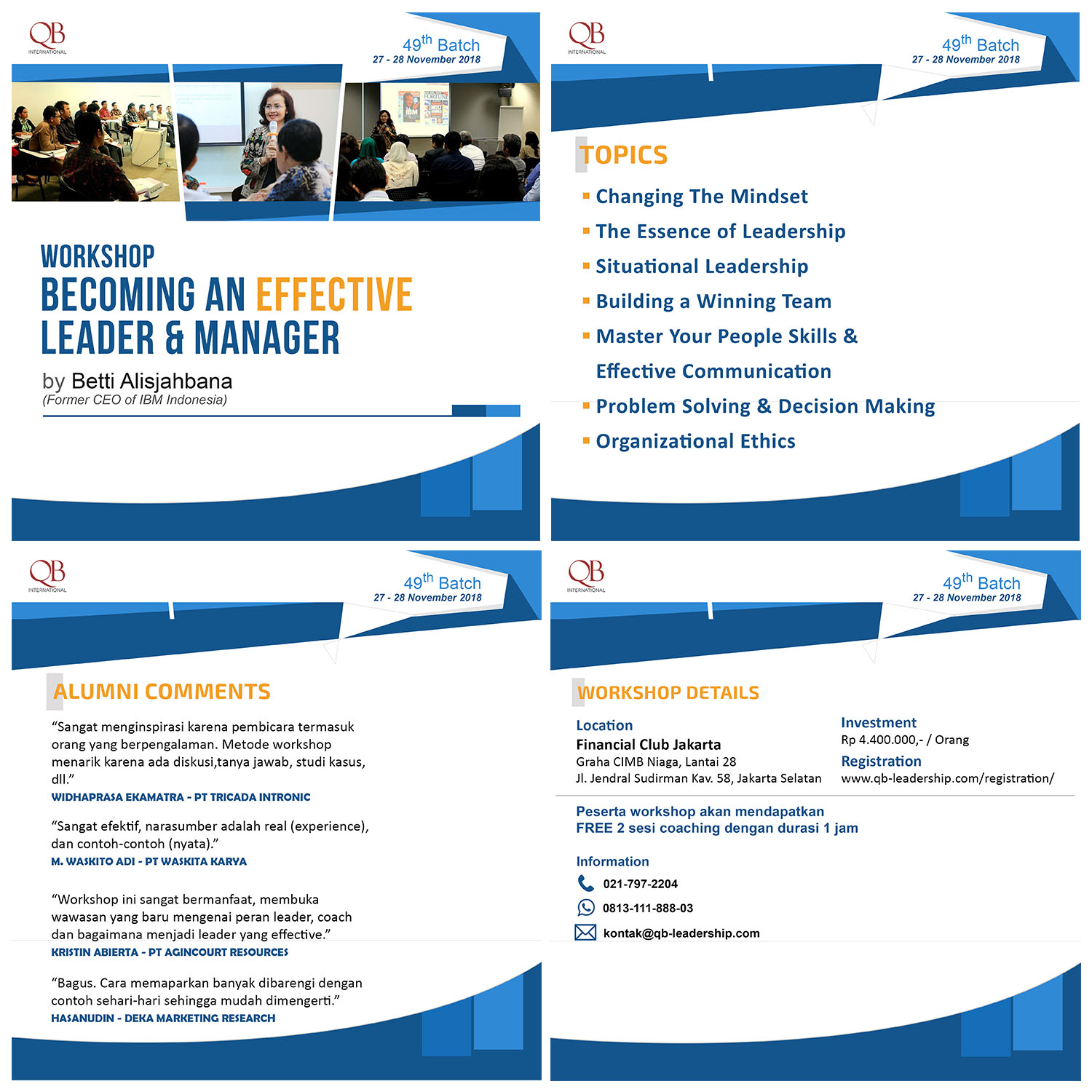 Workshop Becoming an Effective Leader & Manager by Betti Alisjahabana (Former CEO of IBM Indones
