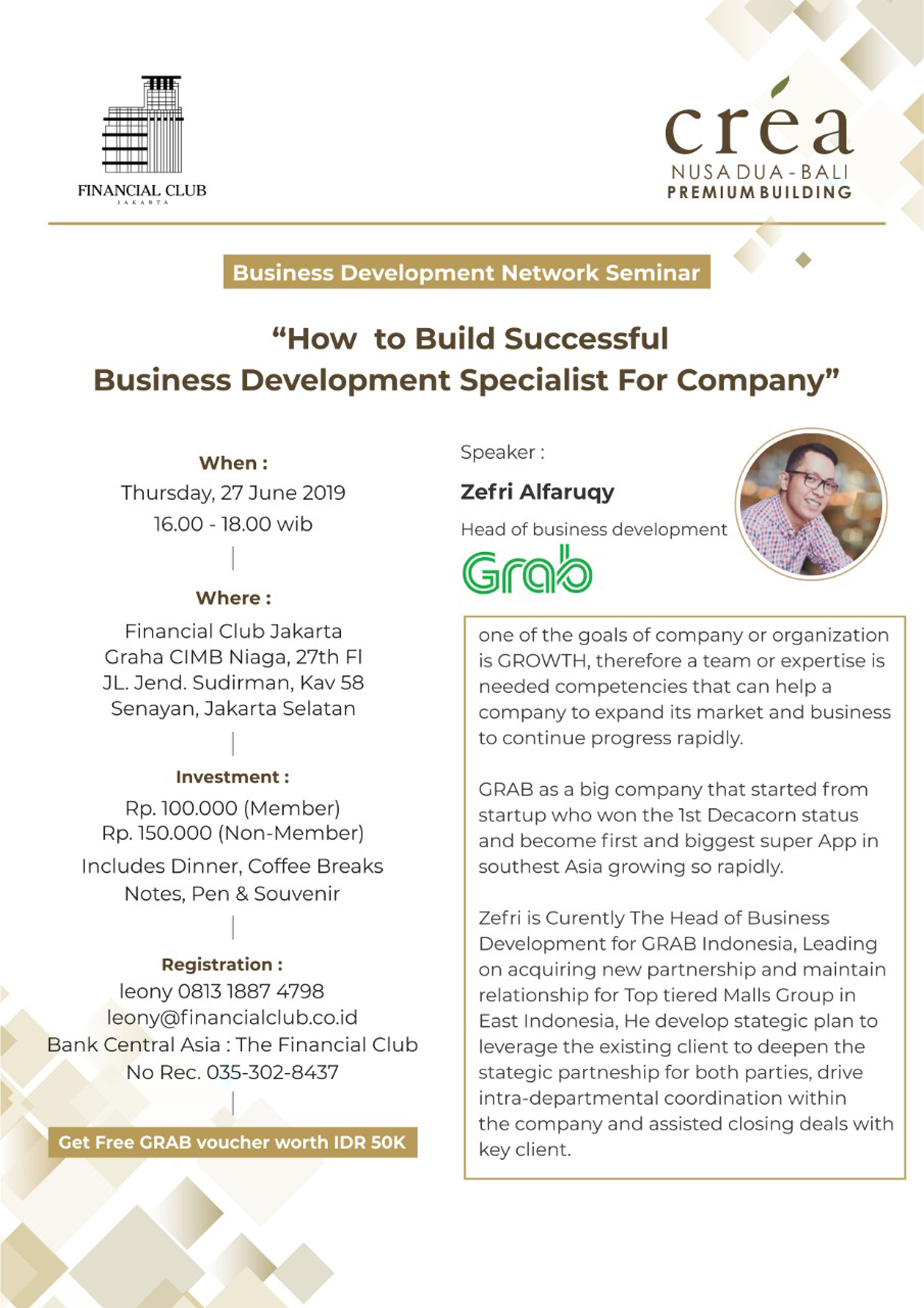 Business Development Network Seminar | Thursday, 27 June 2019 at 16.00 - 18.00 WIB