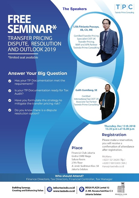 FREE SEMINAR Transfer Pricing Dispute, Resolution and Outlook 2019
