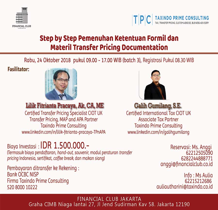 "Workshop ""Step by Step Pemenuhan Ketentuan Formil dan Materil Transfer Pricing Document"" ("