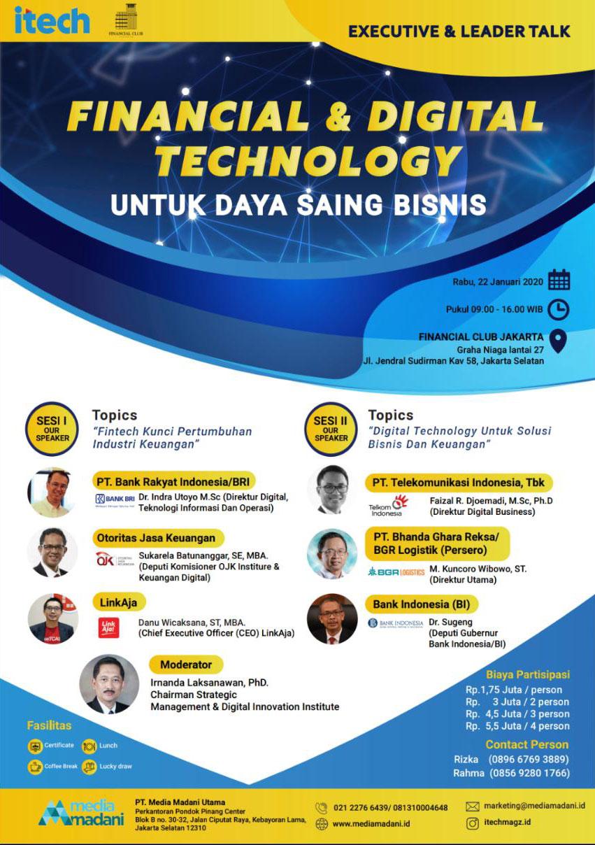 Financial & Digital Techology untuk Daya Saing Bisnis, Wednesday 22nd January 2020